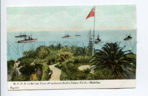 424407 PORTUGAL MADEIRA British Fleet off anchored Reids Palace Hotel postcard