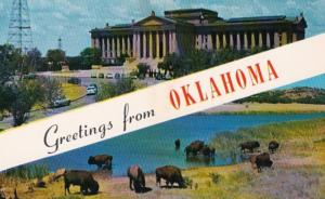 Oklahoma Greetings Showing State Capitol and Buffalo At Quanah Parker Lake