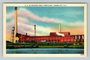 Panama City FL-Florida,Kraft Paper Plant Smoke Stack Water Tower, Linen Postcard