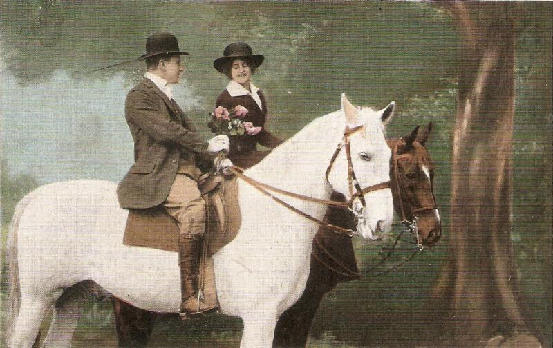 Romance.Couple in their horses.Flower bouque  Nice old vintage German postcard