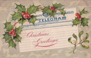 Postal Tellegraph Telegram Postcard Christmas Greetings