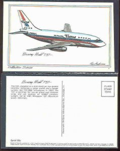 pc2700 postcard Roy Anderson Airplane sketch Boeing Model 737 MOBSC