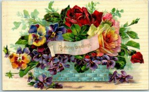 Vintage BIRTHDAY Embossed Postcard Flower Basket Colorful Roses 1908 IA Cancel