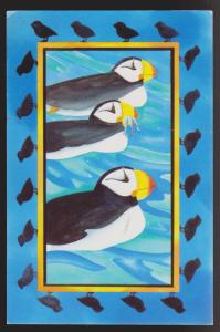 Atlantic Puffins On Greeting Card - Unused