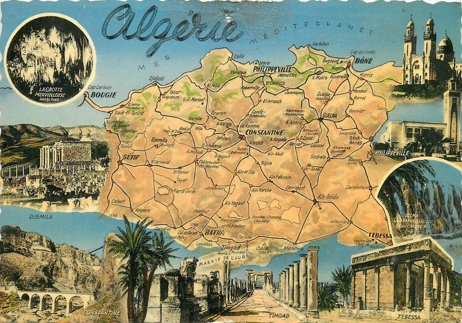 Algeria Algerie map multi view Tebessa Philippeville Bone