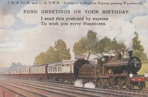 LB & SC LNWR Liverpool To Brighton Express Train Birthday Wandsworth Postcard