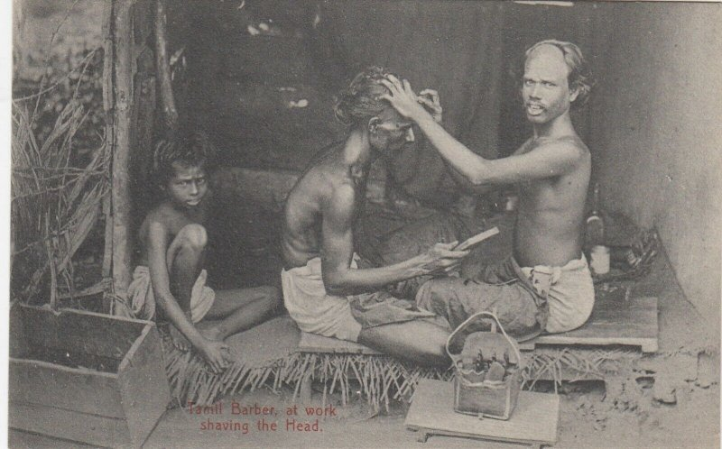 Tamil Barber at work , Shaving the head, CEYLON , 1900-10s