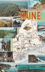 MAINE State Outline, Map, 12-Views, 1950-1960s