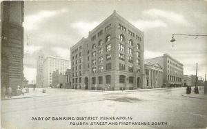 Minneapolis Banking District~4th St & 1st Ave~B&W Postcard c1910