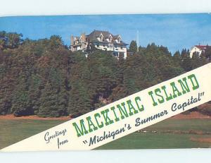 Pre-1980 GREETINGS FROM POSTCARD Mackinac Island Michigan MI ho5524