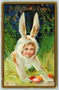 Easter Fantasy~Lil Girl in Bunny Suit~Tall Grass~Guards Colored Eggs~NASH E-42