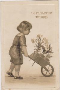 Boy pushes cart full of EASTER Lilly flowers , PU-1914