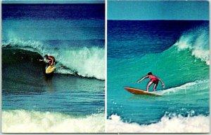 Vintage RINCON, PUERTO RICO Postcard Surfing Capital Surfers 2 Scenes c1960s