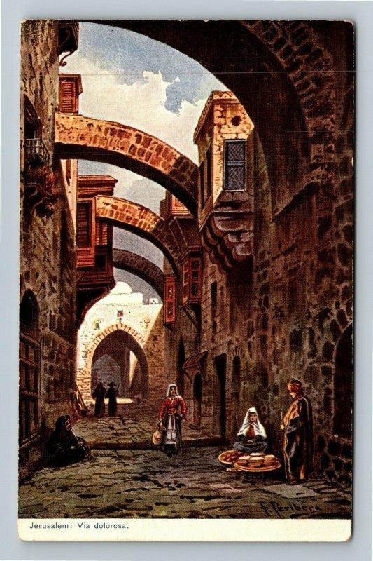 Jerusalem Israel Palestine Via dolorosa Vintage Postcard
