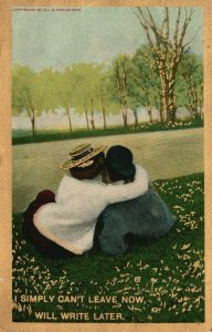 Vintage Postcard 1909 I Simply Can't Leave Now Will Write Later Couple in Love