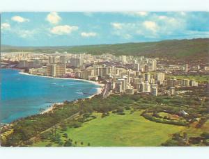 Pre-1980 AERIAL VIEW OF TOWN Waikiki Hawaii HI n3189