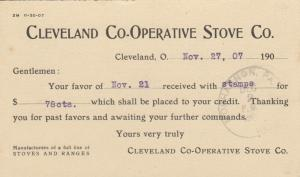 CLEVELAND, Ohio, 1907; Cleveland Co-Operative Stove Co. Receipt Postcard