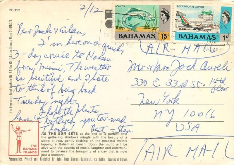 Sloop Boat Bahamas Sunset pm 1976 Caribbean Postcard