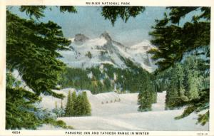 WA - Rainier National Park. Paradise Inn and Tatoosh Range in Winter
