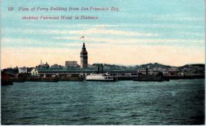 SAN FRANCISCO, CA   California  FERRY BOAT , FERRY BUILDING  c1910s  Postcard
