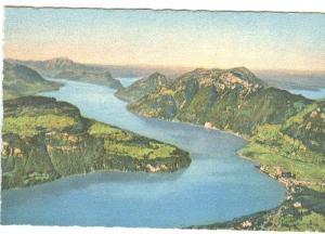 Switzerland, Blick vom Frohnalpstock auf Brunnen, Vierwaldstattersee, mini card
