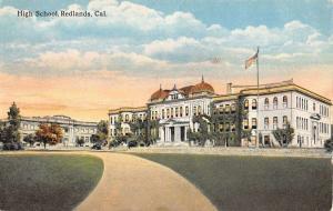 Redlands California High School Entrance View Antique Postcard K10437
