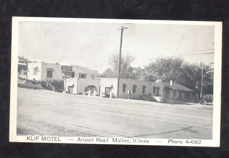 MOLINE ILLINOIS KLIF MOTEL AIRPORT ROAD VINTAGE POSTCARD