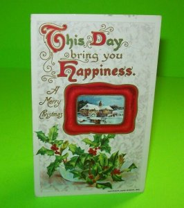 Vintage Christmas Postcard John Winsch 1910 Antique Original Embossed Holly Bowl