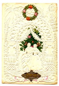 Greeting Card - Valentine. Lace embossed paper, die cut, envelope, unused