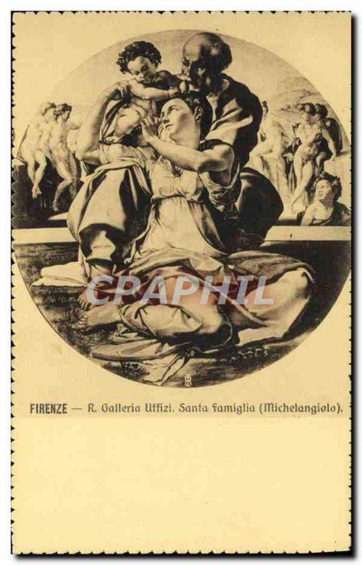 Old Postcard R Florence Uffizi Gallery Santa Famiglia Michelangiolo