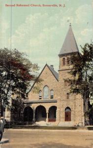 Somerville New Jersey Second Reformed Church Street View Antique Postcard K48468