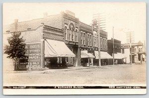 New Hartford Iowa~Main Street Stores~Mack Bros Druggist~Palace Cafe~1909 RPPC