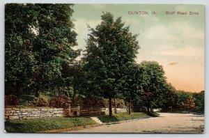 Clinton Iowa~Bluff Road Drive~Stone Retaining Wall~1908 PCK Postcard