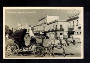 1953 Guadalajara Mexico Real Picture RPPC Postcard Cover to USA Horse Carriages