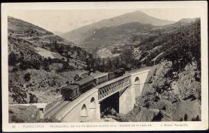 spain, PUIGCERDA, Ferrocarril, Planolas Railway Bridge, Train (1930s) RPPC