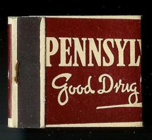 PENNSYLVANIA DRUG CO 1950's Full Unstruck Matchbook