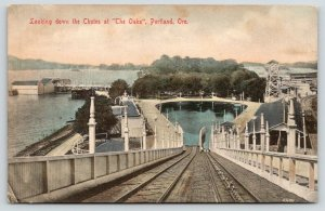 Portland OR~Handcolored~Oaks Amusement Park~Shoot de Chutes~Trolley Station~1908