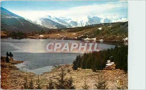 Modern Postcard Auvergne Picturesque Lake Guery and snowy Sancy (1886 m)