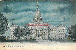 MI, Lansing, Michigan, State Capitol Building, Embossed, 1906 PM