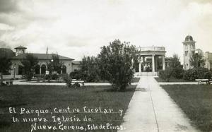 Cuba - Isle of Pines, New Cuban School & Park   *RPPC
