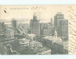 Pre-1907 CITY HALL PARK New York City NY n6011