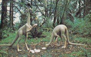Prehistoric Gardens , OREGON , Highway , 1950-60s ; Struthiomimus Dinosaurs
