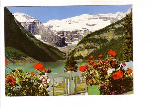 Lake Louise, Chateau with Flowers, Mount Victoria, Alberta, Photo W J Gibbons