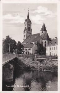 Austria Zwettl mit Kirchenmotiv 1938 Real Photo