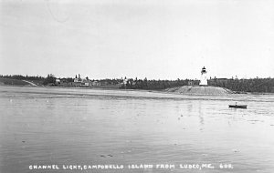 Campobello Island From Lubec ME Channel Lighthouse Real Photo Postcard