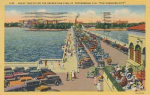 Heavy Traffic on Recreation Pier - St Petersburg FL, Florida - pm 1951 - Linen