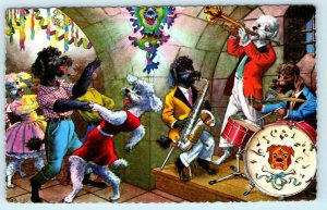 MAINZER DOGS Dressed Anthropomorphic POODLES, JAZZ BAND, Dancing #4937 Postcard