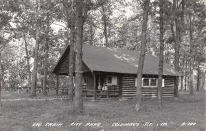Columbus Junction Iowa~City Park~Family on Log Cabin Porch~1940s Real Photo~RPPC