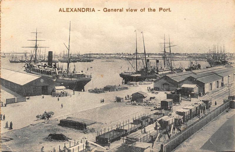 Egypt Alexandria General view of the Port Boats Harbour Postcard
