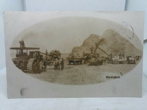 Antique Postcard Threshing In Manitoba Posted 1906 Farmers with Traction Engines